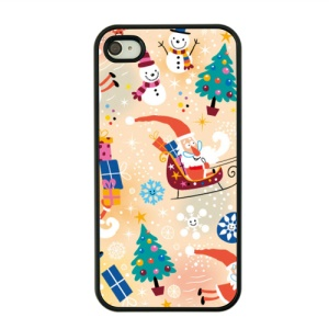 Christmas Series Hard Protective Case for iPhone 4s / 4 - Santa Claus and Snowman