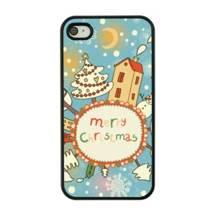 Christmas Series Hard Shell Case for iPhone 4s / 4 - Christmas Tree and Snowman