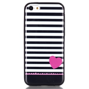 IMD TPU Phone Protective Case Shell for iPhone 5C - Stripes and Heart