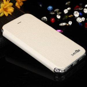 SHENGO Bao Jue Series for iPhone 5s 5 Genuine Leather Flip Cover with Diamond Metal Frame - Silver / White
