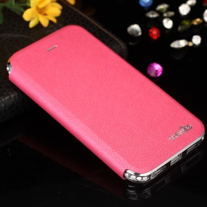 SHENGO Bao Jue Series Genuine Leather Cover with Diamond Metal Bumper for iPhone 5s 5 - Silver / Rose