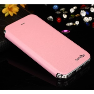 SHENGO Bao Jue Series Genuine Leather Protective Cover with Metal Frame for iPhone 5s 5 - Silver / Pink