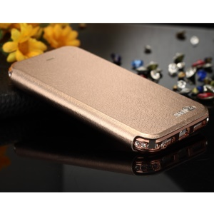 SHENGO Bao Jue Series Genuine Leather Phone Case with Metal Frame for iPhone 5s 5 - Rose Gold