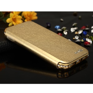 SHENGO Bao Jue Series for iPhone 5s 5 Genuine Leather Case with Metal Frame - Champagne Gold