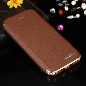 SHENGO Bao Jue Series for iPhone 5s 5 Genuine Leather Flip Case with Metal Frame - Rose Gold / Brown