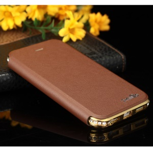 SHENGO Bao Jue Series for iPhone 5s 5 Genuine Leather Cover Case with Metal Frame - Champagne Gold / Brown