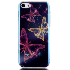 Blu-ray IMD TPU Back Phone Case Shell for iPhone 5c - Beautiful Butterfly