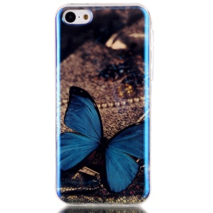 Blu-ray IMD TPU Gel Phone Cover Shell for iPhone 5c - Blue Butterfly