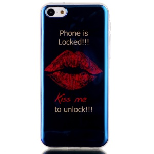 Blu-ray IMD TPU Back Phone Cover for iPhone 5c - Lip and Kiss Me to Unlock