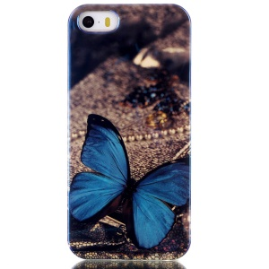 Blu-ray IMD TPU Gel Case for iPhone 5s 5 - Blue Butterfly