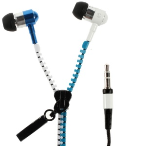 Two-color Zipper 3.5mm Stereo Earbud Earphone for iPhone iPad Samsung HTC Huawei - White / Blue