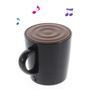 Coffee Cup Bluetooth Speaker with Voice Record and AUX-input Feature - Black