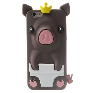 Cute 3D Crown Pig Silicone Cover Shell for iPhone 6 / 6s 4.7 inch - Coffee