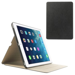 Kakusiga Elegant Silk Texture Smart Leather Case w/ Stand for iPad Air 5 - Black