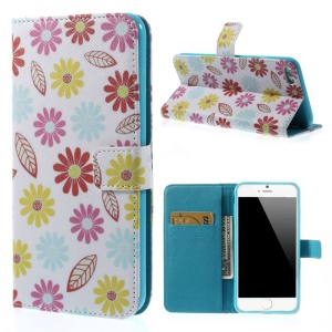 Colorized Flowers Wallet Leather Stand Case for iPhone 6 Plus 5.5 inch