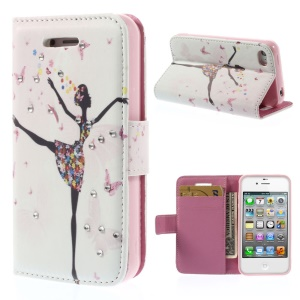 Rhinestones Inlaid Leather Wallet Stand Case Shell for iPhone 4s 4 - Dancing Girl