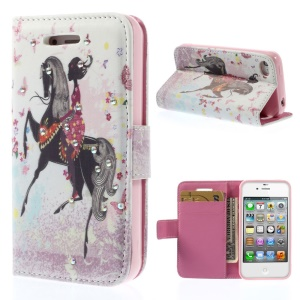 Rhinestones Inlaid Leather Wallet Stand Case for iPhone 4s 4 - Riding Horse Girl