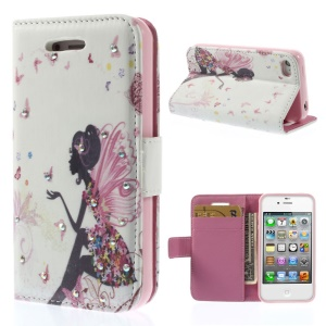 Rhinestones Inlaid Leather Card Holder Stand Cover for iPhone 4s 4 - Butterfly Girl