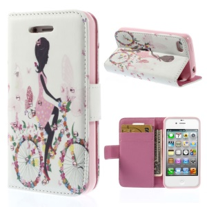 Rhinestones Inlaid Leather Wallet Stand Shell for iPhone 4s 4 - Cycling Girl