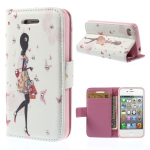 Rhinestones Inlaid Leather Wallet Stand Case for iPhone 4s 4 - Shopping Girl
