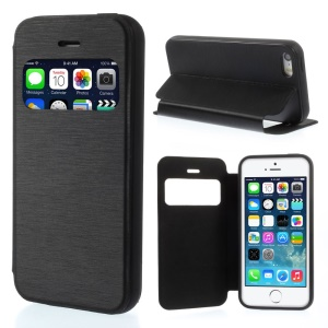 View Window Brushed Leather Folio Case for iPhone 5s 5 - Black