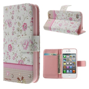 Pink Floret Lace Rhinestone Leather Wallet Case w/ Stand for iPhone 4s 4