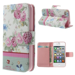 Rose Flowers Lace Rhinestone Leather Wallet Cover w/ Stand for iPhone 4s 4