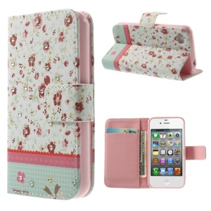 Beautiful Flowers Lace Rhinestone Leather Magnetic Case w/ Stand for iPhone 4s 4