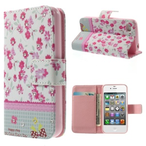 Vivid Flowers Lace Rhinestone Magnetic Leather Stand Case for iPhone 4s 4