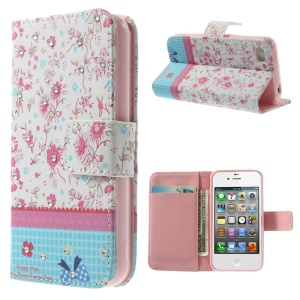 Blooming Flowers Lace Rhinestone PU Leather Wallet Case for iPhone 4s 4