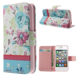 Colorized Flowers Lace Rhinestone PU Leather Wallet Case for iPhone 4s 4
