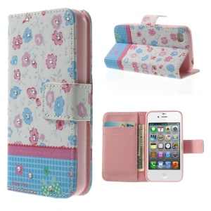Fresh Flowers Lace Rhinestone Magnetic Leather Card Holder Case for iPhone 4s 4