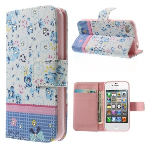 Blue Flowers Lace Rhinestone Leather Magnetic Case w/ Stand for iPhone 4s 4