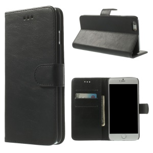 Retro Style Leather Wallet Bracket Case for iPhone 6 Plus 5.5 inch - Black