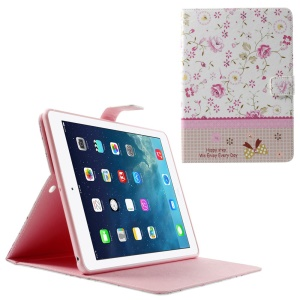 Pink Flowers Lace Rhinestone Smart Leather Stand Case for iPad Air