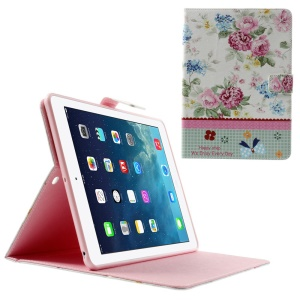 Blooming Peony Lace Rhinestone Smart Leather Stand Case for iPad Air