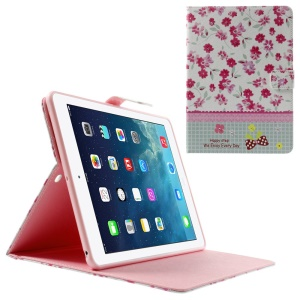 Fresh Flowers Lace Rhinestone Smart Leather Stand Cover for iPad Air