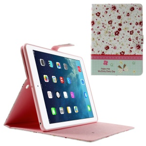 Beautiful Flowers Lace Rhinestone Smart Leather Stand Shell for iPad Air