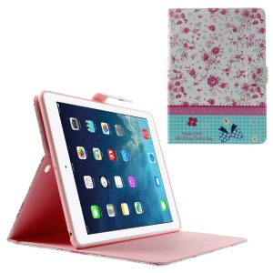 Pretty Flowers Lace Rhinestone Smart Leather Stand Cover for iPad Air