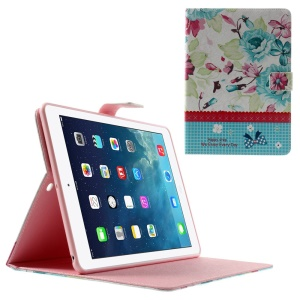 Vivid Flowers Lace Rhinestone Smart Leather Stand Case Shell for iPad Air