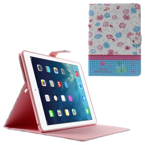 Colorized Flowers Lace Rhinestone Smart Leather Stand Case for iPad Air