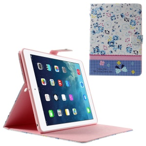 Blue Flowers Lace Rhinestone Smart Leather Stand Shell for iPad Air