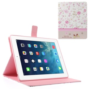 Fresh Flowers Lace Rhinestone Smart Leather Wallet Case for iPad 2 3 4