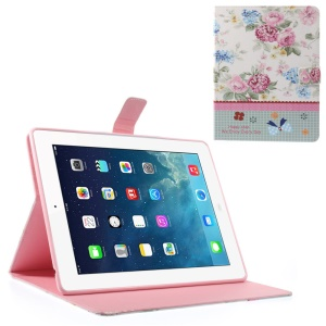 Beautiful Flower Blossom Lace Rhinestone Smart Leather Wallet Cover for iPad 2 3 4