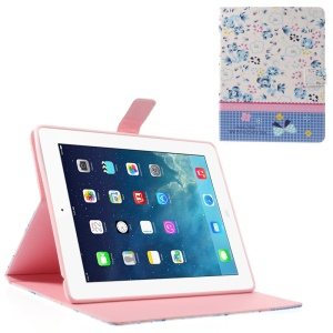 Blue Floret Lace for iPad 2 4 the New iPad Smart Leather Folio Wallet Shell