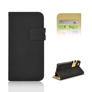 Frosting Texture Leather Stand Case w/ Card Slots for iPhone 6 4.7-inch - Black