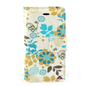 Beautiful Flowers Leather Stand Cover w/ Card Slots for iPhone 4s 4