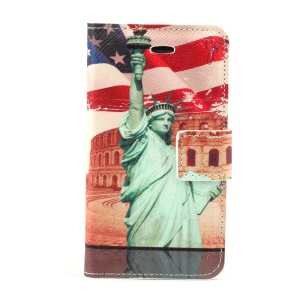 Statue of Liberty Leather Magnetic Case w/ Stand for iPhone 4s 4