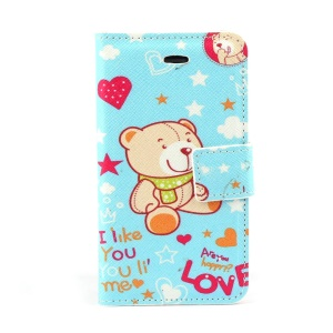 Cute Bear & Heart Leather Magnetic Cover w/ Stand for iPhone 4s 4