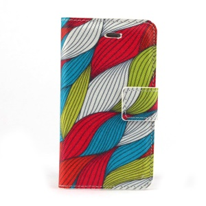 Colorized Woolen Yarn Leather Card Holder Case w/ Stand for iPhone 4s 4
